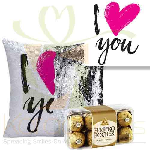 Love Sequin Cushion With Chocs