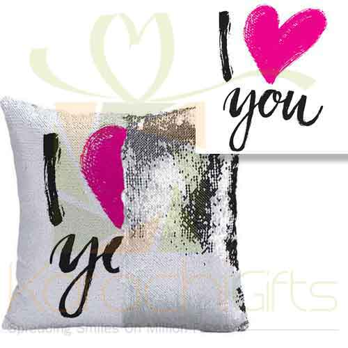 I Love You Sequin Cushion 1