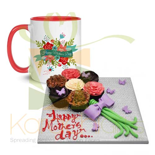 Mothers Day Mug With Floral Cup Cakes