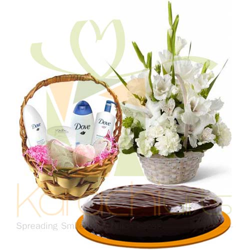 Dove Kit, Cake And Flowers