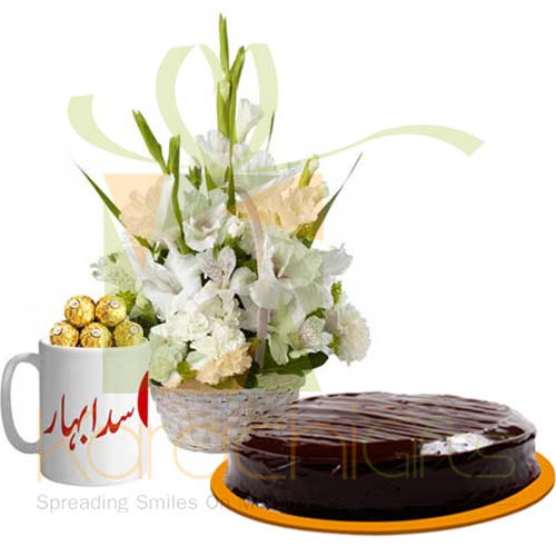 Cake Flowers And Chocolate Mug