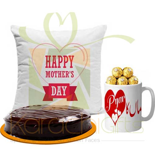 Cushion, Chocolate Mug And Cake For Mom
