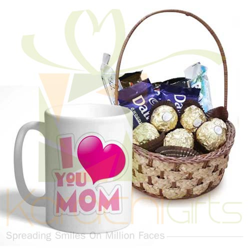Choc Basket With Mom Day Mug