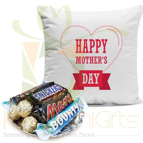 Mom Cushion With Chocs Basket