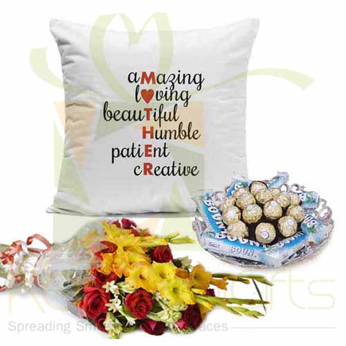 Mother Cushion Choc Tray And Flowers