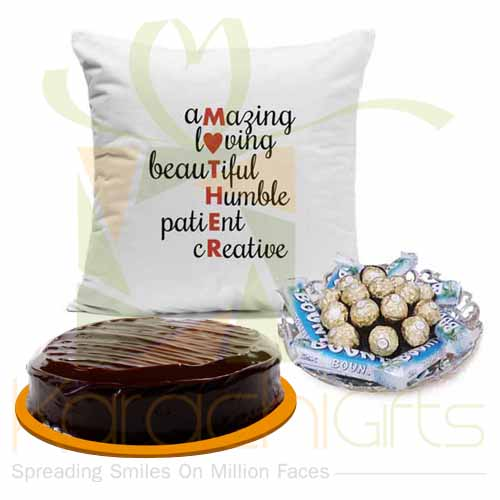 Mother Cushion Choc Tray And Cake