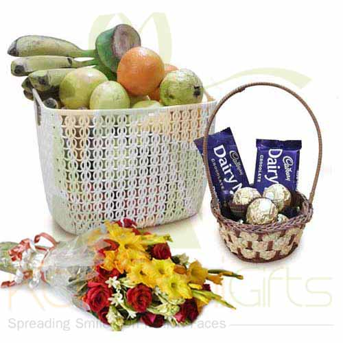 Fruits Chocolates And Flowers