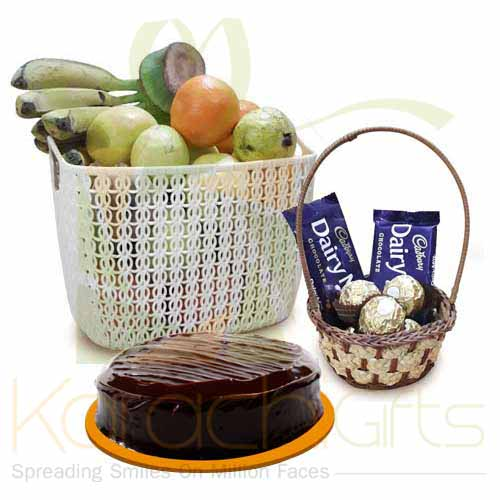 Fruits With Choc Basket And Cake