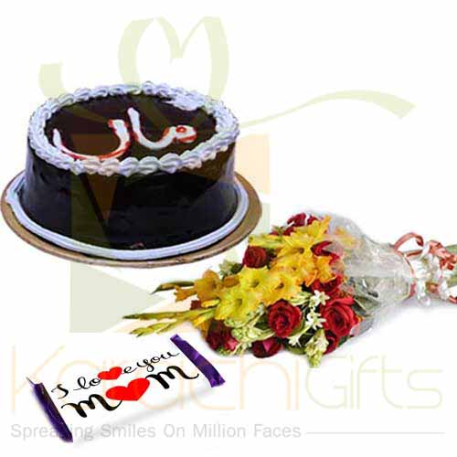 Maa Cake With Bouquet And Chocs
