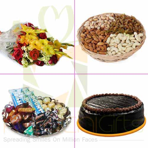 Dry Fruits Cake Chocs Flowers
