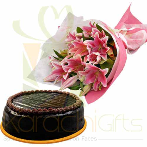 Chocolate Cake With Lilies