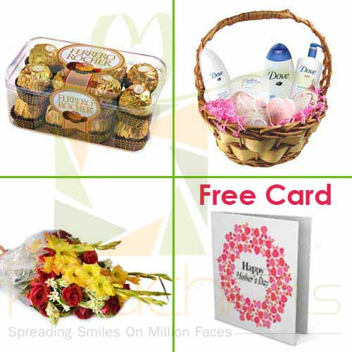 Chocs Bath Basket Flowers Card