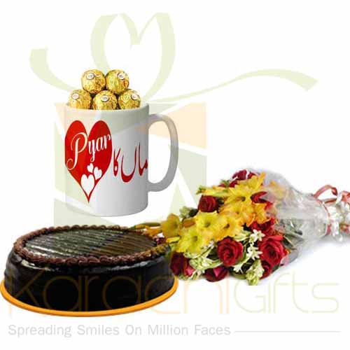 Choc Mug Flowers And Cake For Ammi