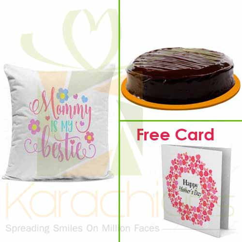 Cake And Cushion With Free Card