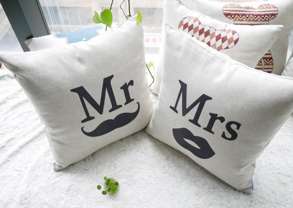 2 Cushion Set of Mr and Mrs