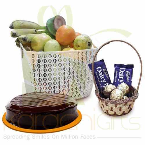 Cake Choco Basket And Fruits