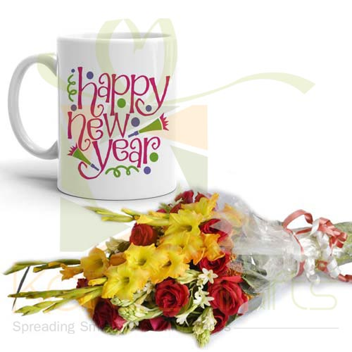 New Year Mug With Flowers