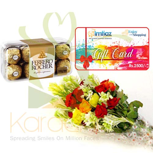 Gift Card With Chocs And Flowers