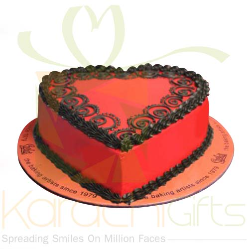 Red Decorated Heart Cake By Sachas