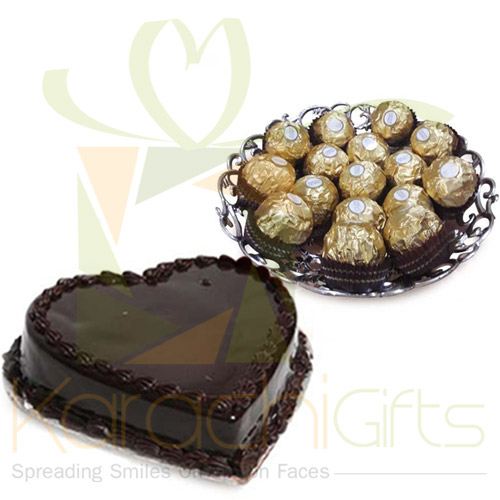 Rocher Tray With Heart Cake