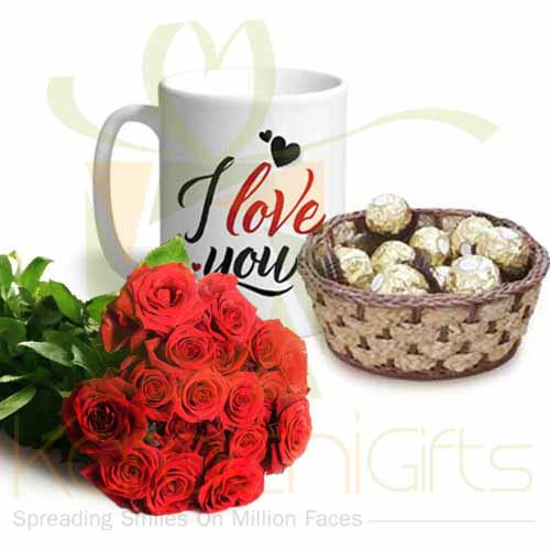 Love Mug, Roses And Choc Basket