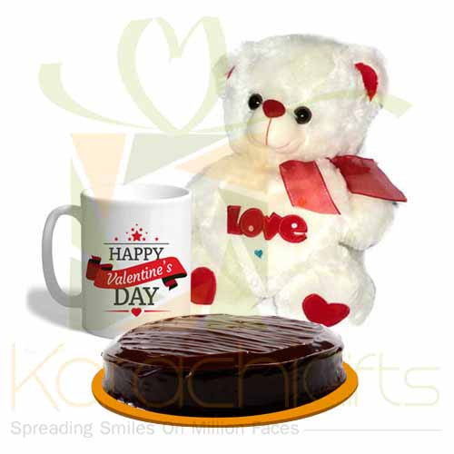 Love Bear With Vale Mug And Cake