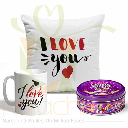 Cushion Mug And Chocolates