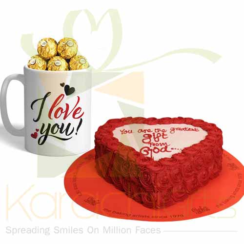 Red Flowers Cake With Choc Mug