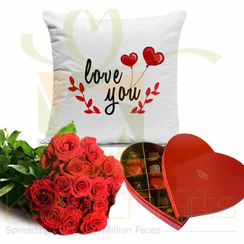 Roses With Choco Heart And Cushion