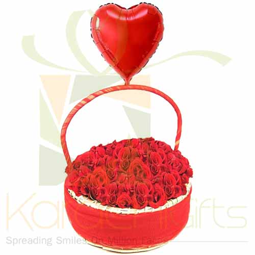 Rose Basket With Heart Balloon
