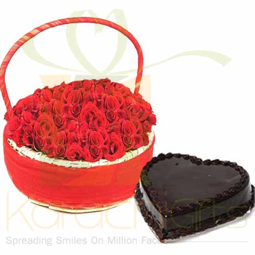 Love Basket With Heart Cake