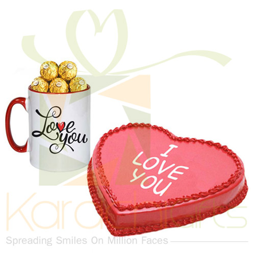 Choco Love Mug With Love Cake