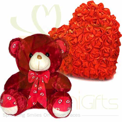 Red Teddy With Rose Heart