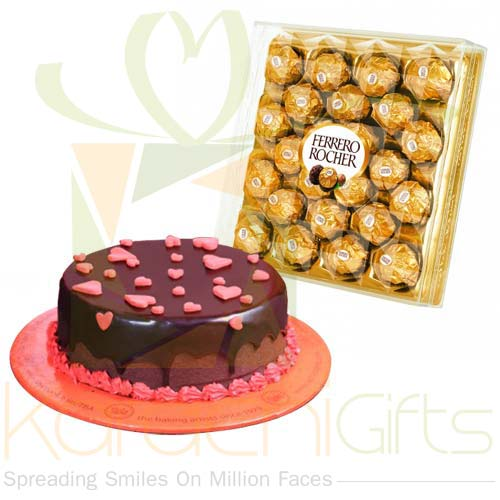 Ferrero With Hearts Cake