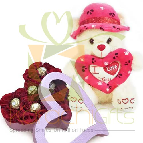 Choc Rose Heart With Teddy