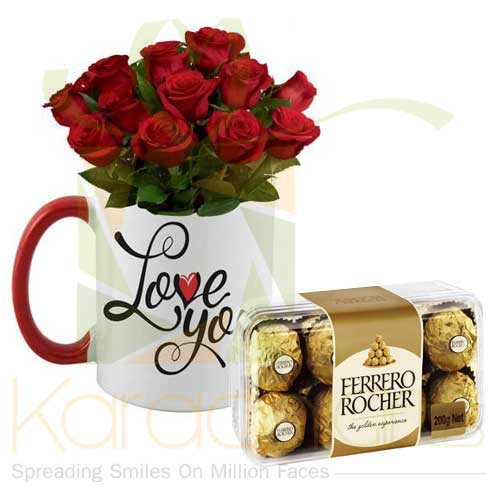 Love You Rose Mug With Rochers