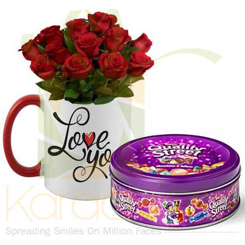 Love You Rose Mug With Quality Street