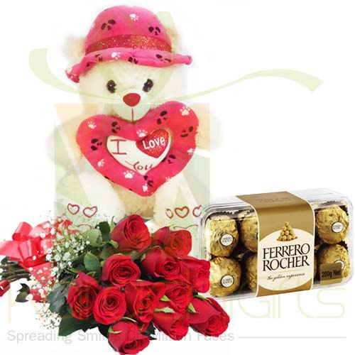 Roses Teddy and Chocs