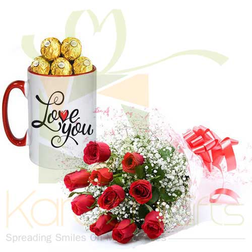 Love You Choc Mug With Roses