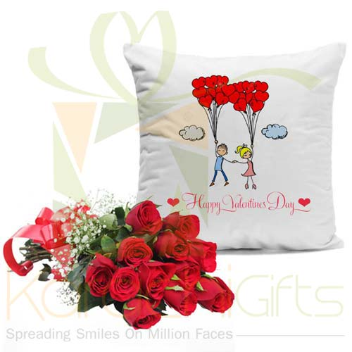 Roses With Couple Cushion