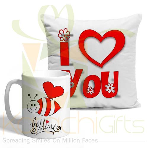 Be Mine Cushion Mug Combo