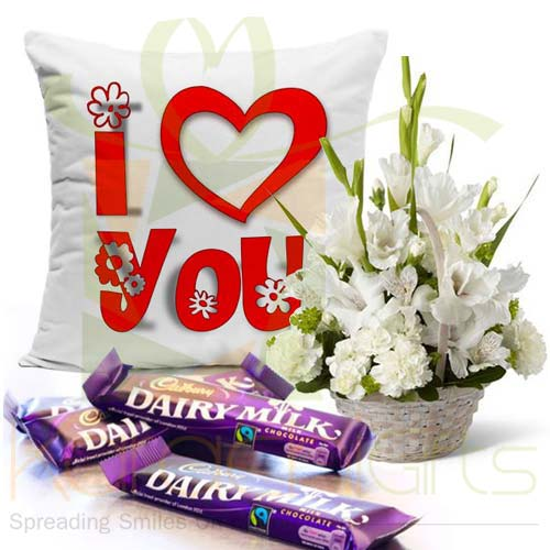 Choc Cushion With Glads Basket