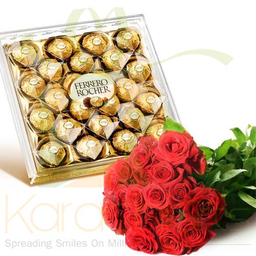 Roses With Large Ferrero Box