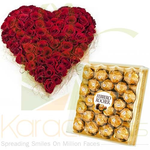Rose Heart With Large Ferrero Box