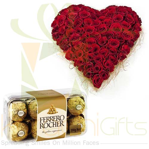 Rose Heart With Small Ferrero Box