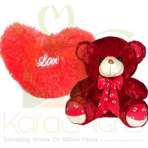 Red Teddy And Furry Heart