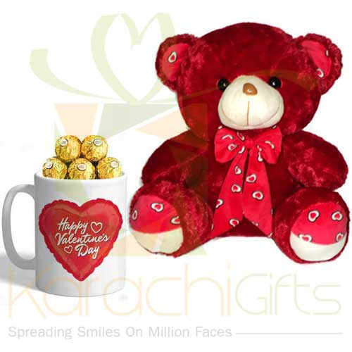Red Teddy With Valentine Choc Mug