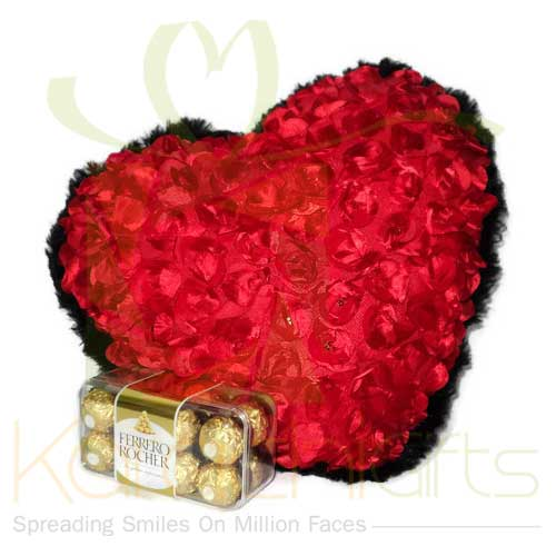 Rose Heart Pillow With Ferrero
