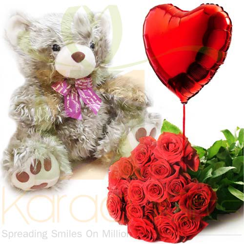 Teddy Roses And Heart Balloon