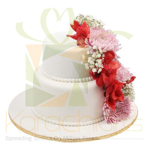 2 Tier Flower Wedding Cake By Sachas